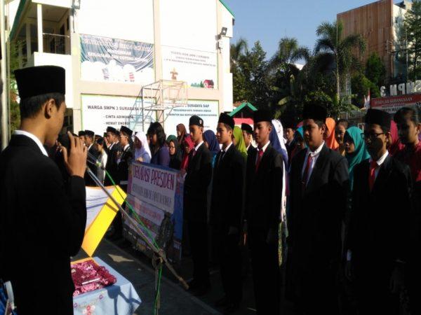 """Deklarasikan """"PRESIDEN"""" SMPN 3 Surabaya Menyambut HUT RI Kemerdekaan Ke- 73"""